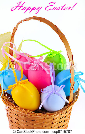 Easter colored eggs in the basket. Happy Easter!  - csp8715707
