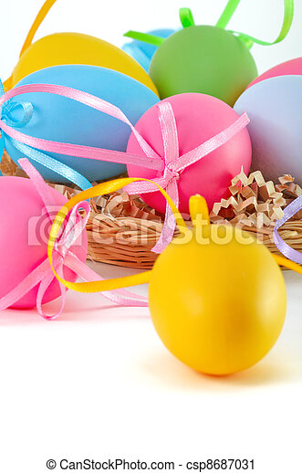 Easter colored eggs in the basket on the white background  - csp8687031