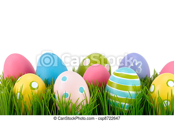 Easter colored eggs on the grass.  - csp8722647
