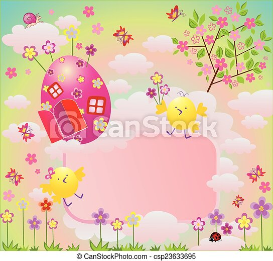 Easter colorful card - csp23633695
