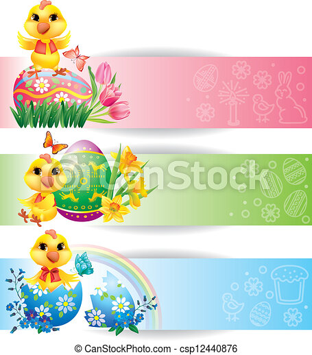 Easter colorful horizontal banners with chicken - csp12440876
