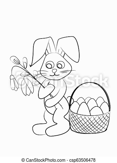 Easter coloring. Black and white raster illustration for coloring book.