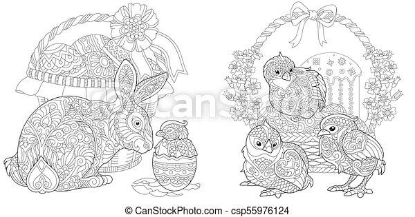 easter coloring collection csp55976124