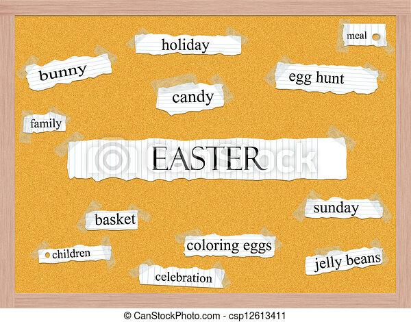 Easter Corkboard Word Concept - csp12613411