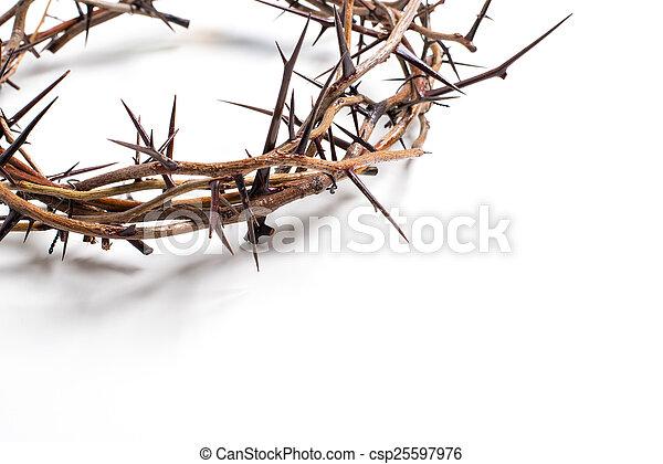 easter., corona, -, religion., plano de fondo, espinas, blanco - csp25597976
