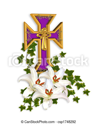 Easter Cross and Lilies - csp1748292
