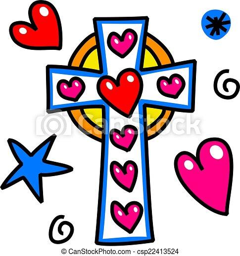 Easter Cross Cartoon Doodle - csp22413524