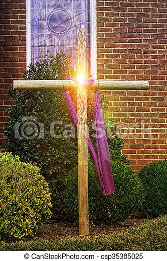 Easter Cross Rustic Wooden With Purple Linen Christian