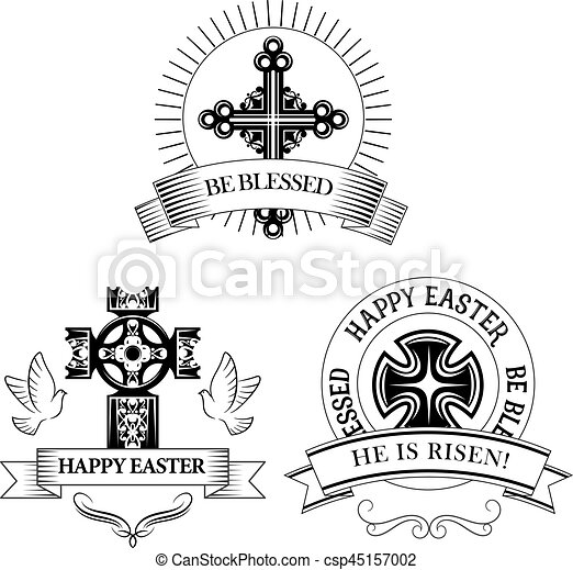 Easter Cross Vector Symbols For Paschal Greeting Easter Symbols Of