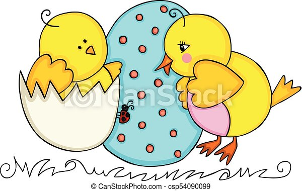 Easter cute chicks couple - csp54090099
