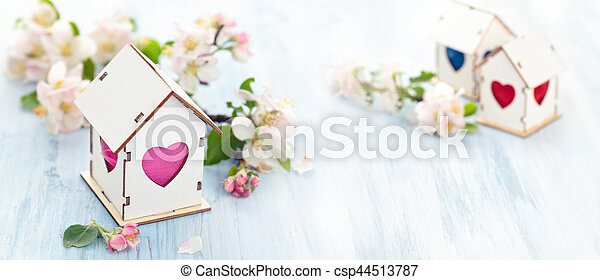 Easter decoration with apple blossom. - csp44513787