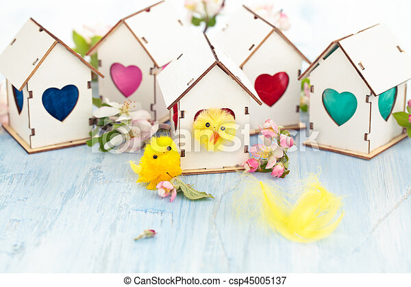 Easter decoration with apple blossom. - csp45005137