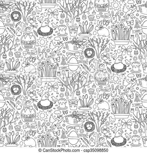 Easter doodle seamless pattern - csp35098850