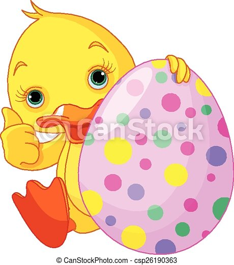 Easter Duckling gives thumbs up - csp26190363