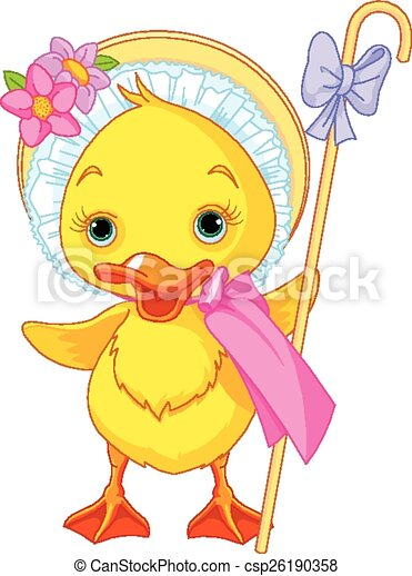 Easter Duckling with shepherdess st - csp26190358