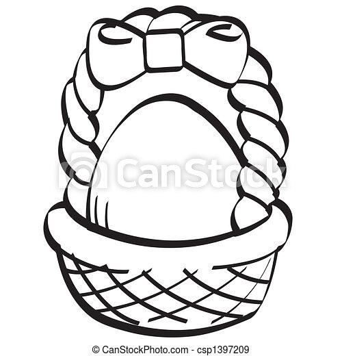 Easter Egg Basket Line Art Vector