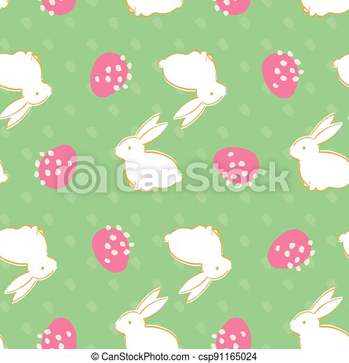 Easter Egg Bunny Seamless Pattern - csp91165024