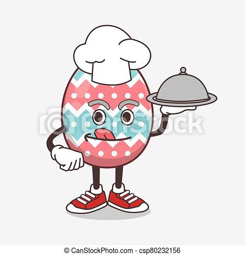 Easter Egg cartoon mascot character as a Chef with food on tray ready to serve - csp80232156