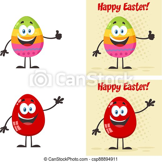 Easter Egg Cartoon Mascot Character - csp88894911