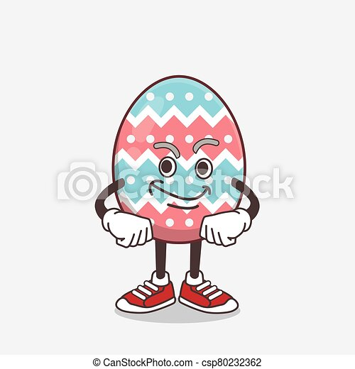 Easter Egg cartoon mascot character with smirking face - csp80232362