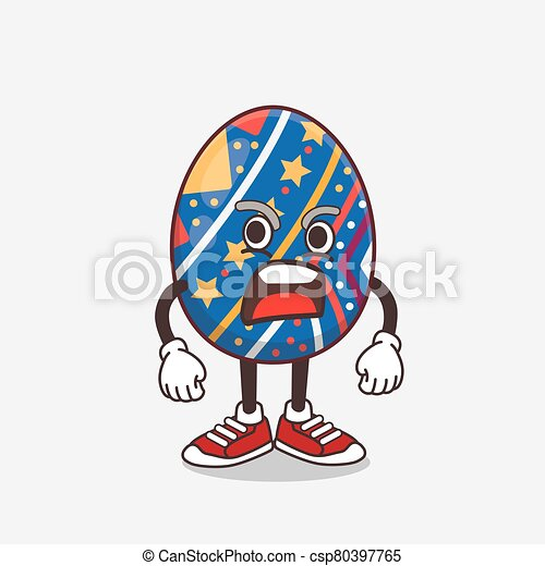 Easter Egg cartoon mascot character with angry face - csp80397765