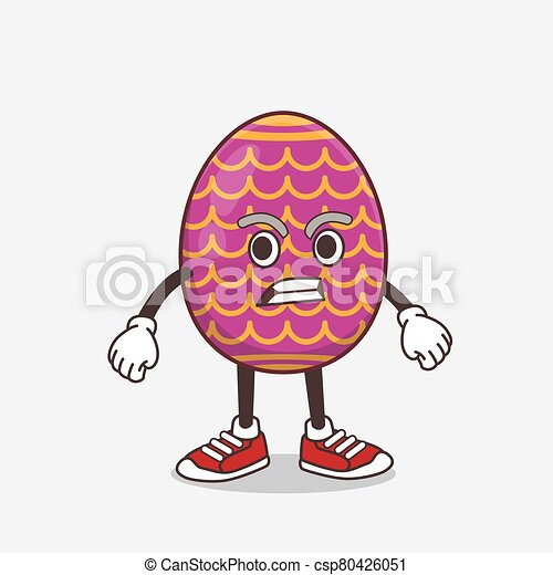 Easter Egg cartoon mascot character with angry face - csp80426051