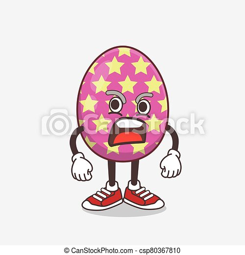 Easter Egg cartoon mascot character with angry face - csp80367810