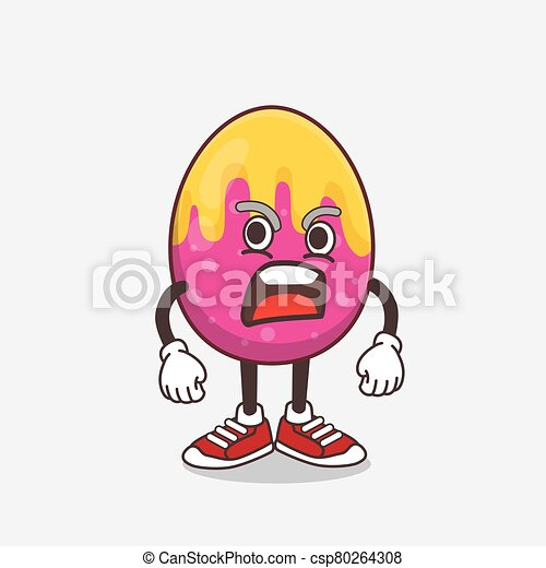 Easter Egg cartoon mascot character with angry face - csp80264308