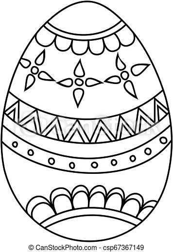 Easter egg. Coloring book for kids. Hand drawn icon.
