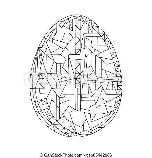 Easter egg coloring book vector illustration. Hand drawn abstract holidays  object in modern style.