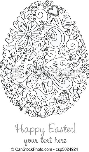 Easter Egg Shape Hand Drawn Greeting Card Design With Eps