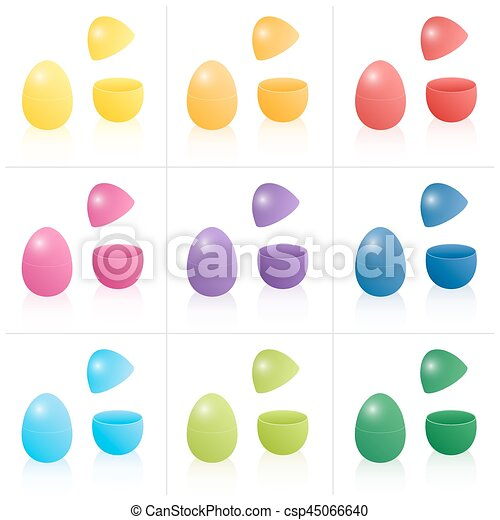 Easter egg gift boxes closed and opened to be filled nine eps easter egg gift boxes csp45066640 negle Choice Image