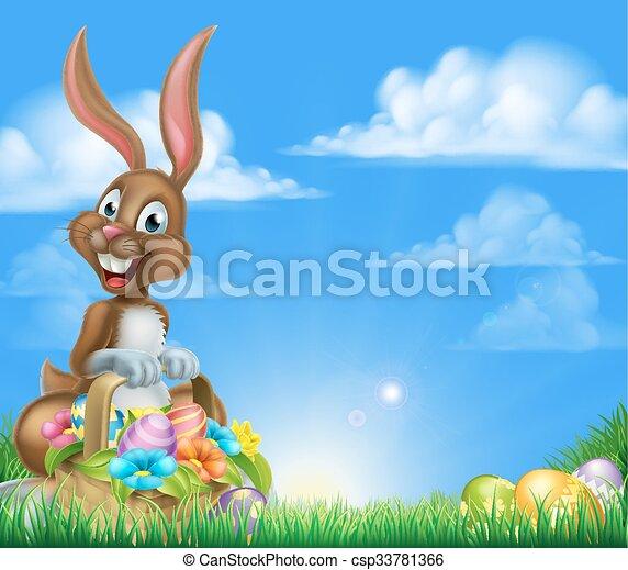 easter egg hunt bunny csp33781366