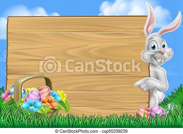 easter egg hunt bunny rabbit background csp55339239
