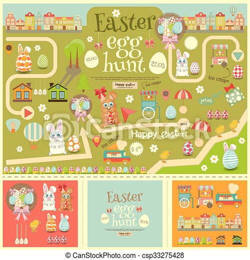 Easter egg hunt easter invitation card and easter elements easter easter egg hunt csp33275428 maxwellsz