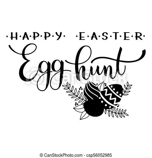 Easter egg hunt lettering hand written easter phrases seasons easter egg hunt lettering csp56052985 m4hsunfo