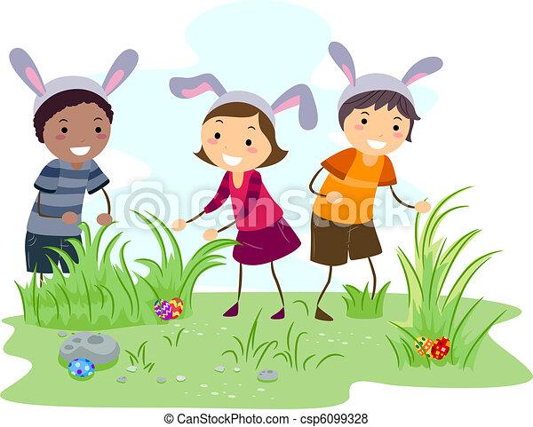 illustration of kids on an easter egg hunt rh canstockphoto com church easter egg hunt clipart religious easter egg hunt clipart