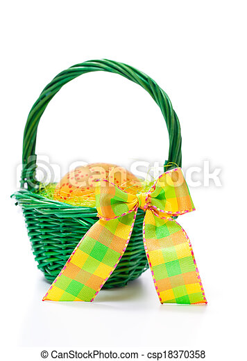 Easter egg in a basket on white background - csp18370358