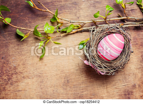 Easter egg in nest on wooden background - csp18254412