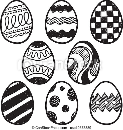 Easter egg sketches - csp10373889