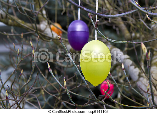 Easter Egg Tree Plastic Easter Eggs Hanging From Budding Tree Canstock