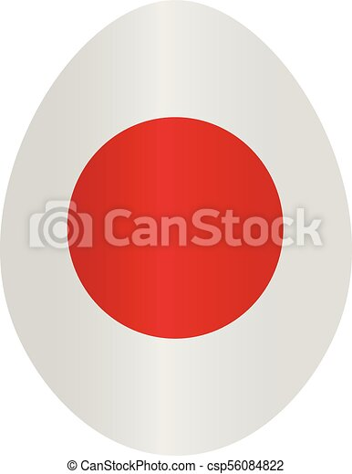 Easter egg with colors of Japan flag - csp56084822