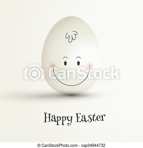 Easter egg with cute face - csp34944732