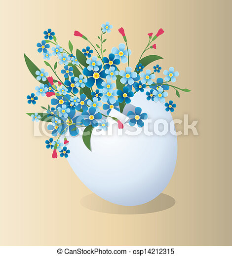 Easter egg with flowers - csp14212315