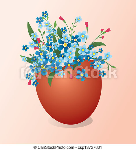 Easter egg with flowers - csp13727801