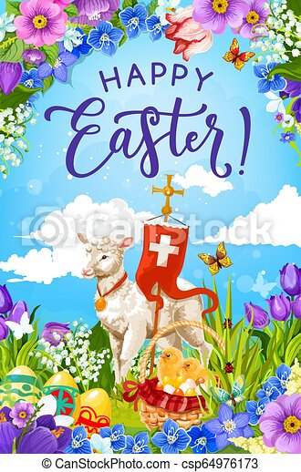 Easter eggs and chicks in basket with lamb of God - csp64976173