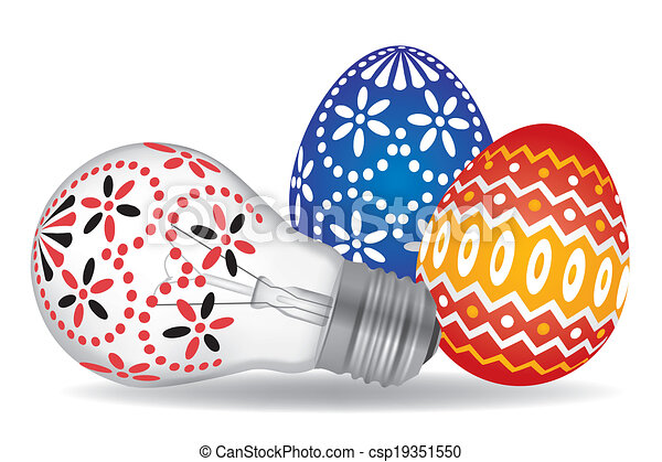 Easter Eggs And Bulb
