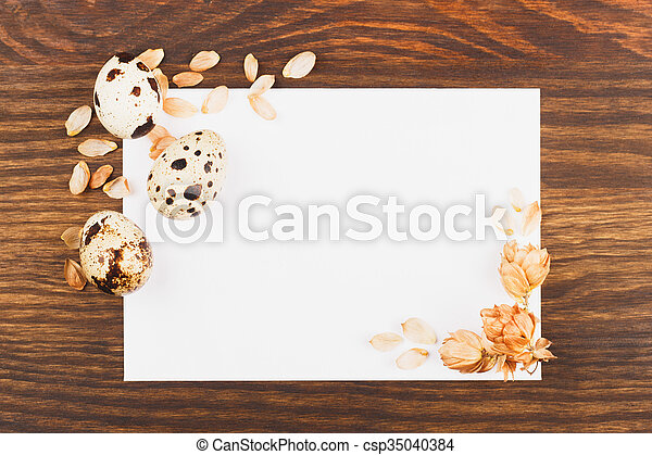 Easter eggs and postcard - csp35040384