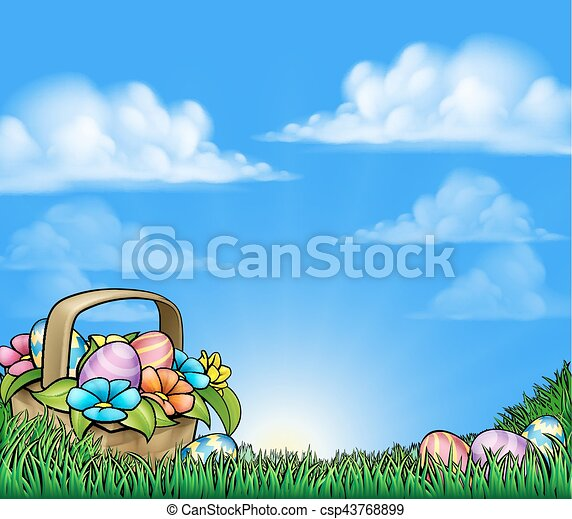 Easter Eggs Basket Background - csp43768899