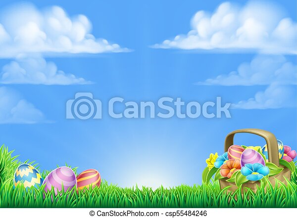 Easter Eggs Basket Background - csp55484246